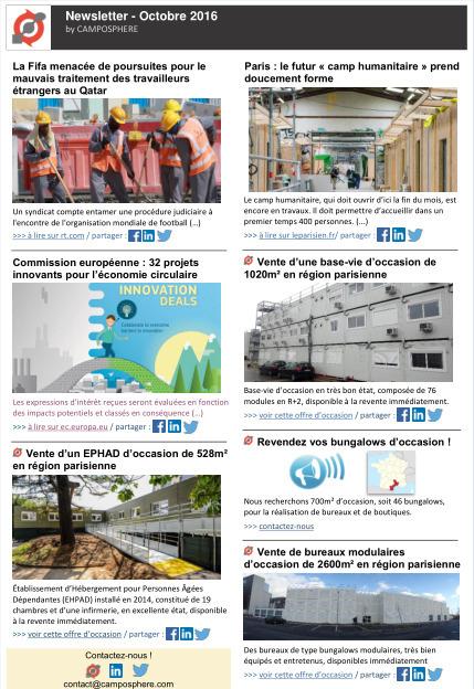 CAMPOSPHERE - Newsletter Octobre 2016 (version francaise).pdf | Construction et gestion d'installations temporaires | Scoop.it