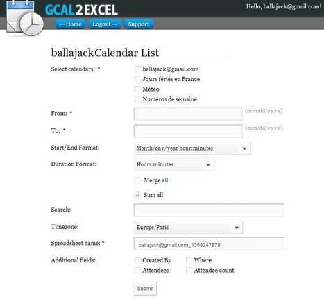 Export des évènements de Google Agenda sur Excel, Gcal2Excel   Time to Learn   Scoop.it