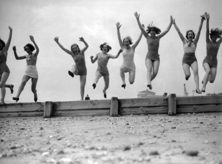 The O'Gorman Chorus girls on the beach at Worthing, June 1935   Herstory   Scoop.it