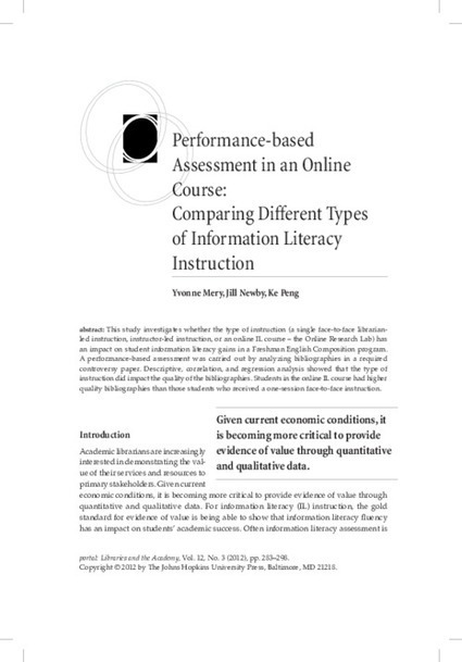 Performance-based Assessment in an Online Course: Comparing Different Types of Information Literacy Instruction |Project MUSE | Aprendiendo a Distancia | Scoop.it