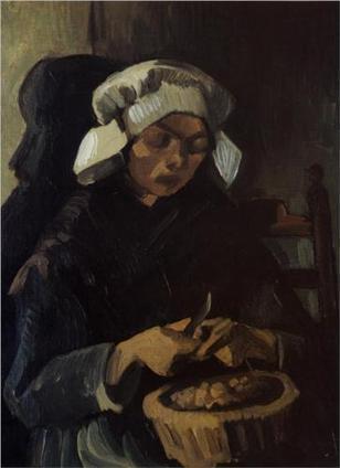 Peasant Woman Peeling Potatoes 1885 by Vincent Van Gogh   Van gogh Replica Paintings for Sale   Scoop.it