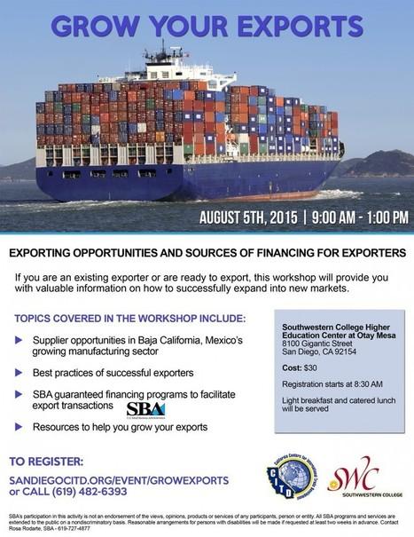 Grow Your Exports Workshop -Registration and Agenda| San Diego Center for International Trade Development | International Trade | Scoop.it