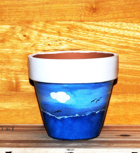 Seascape Flower Pot Ocean Waves Seagulls and Clouds Hand Painted on 4.5 Inch Terra Cotta Red Clay Pot Made to Order | Antiques n' Oldies | Scoop.it