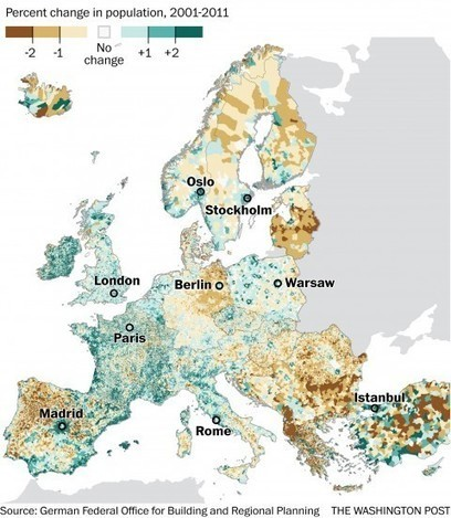 Map: Where Europe is growing and where it is shrinking | Educational technology , Erate, Broadband and Connectivity | Scoop.it