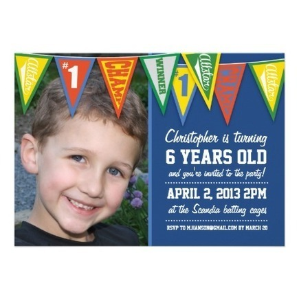 Sports Pennants Boys Birthday Invitation from Zazzle.com | Altered Space Design | Scoop.it