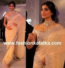Sonam Kapoor Cream Saree   Fashion   Scoop.it