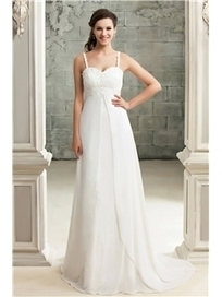 $ 174.99 Elegant Empire Spaghetti Straps Chapel Appliques Sandra's Wedding Dress   Fashion women   Scoop.it