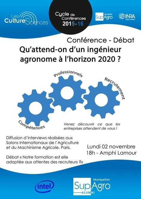 Cycle de conf&eacute;rences LES CULTURESCIENCES <br/>organis&eacute; par Montpellier SupAgro &amp; le Centre Inra de Montpellier : &quot;Qu'attend-t-on d'un ing&eacute;nieur agronome &agrave; l'horizon 2020 ?&quot; 02-11-15 de 18h00 &agrave; 20h00, C... | qqs infos sur le centre Inra Montpellier | Scoop.it