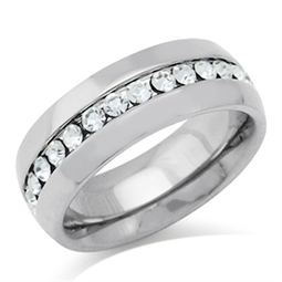 7MM White Crystal Stainless Steel Wedding Eternity Band Ring | Online Store | Scoop.it