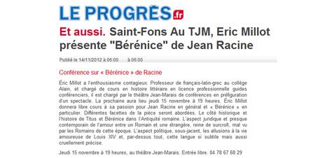 Saint-Fons : au théâtre Jean-Marais Eric Millot présente Bérénice de Racine | novembre 2012 | Le Progrès | ARTIS MIRABILIS : toute la revue de presse | Scoop.it