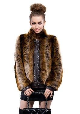 Dark brown faux raccoon fur with dark coffee leather short fur coat | Comfortable faux fur coat fashion | Scoop.it