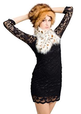 Cheryl faux dark brown fox fur with light color lynx fur hat plus scarf | Comfortable faux fur coat fashion | Scoop.it