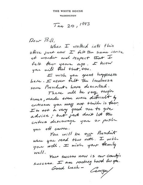 Inauguration Day letter from Bush to Clinton | History | Scoop.it