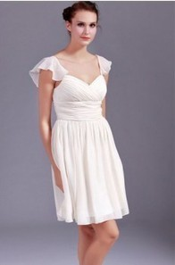 Short Length Chiffon Queen Anne Empire With Ruching A line Prom/ Bridesmaid Dress 2013 | wedding dresses in mubuy | Scoop.it
