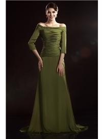 $ 123.99 Charming A-Line Off-the-Shoulder 3/4-Sleeves Floor-Length Olga's Mother of the Bride Dress   Fashion women   Scoop.it