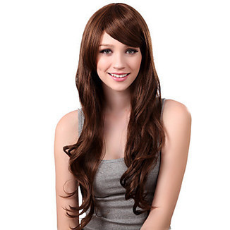 Capless Long Synthetic Brown Mature Curly Hair Wig Side Bang – WigSuperDeal.com | African American Wigs | Scoop.it
