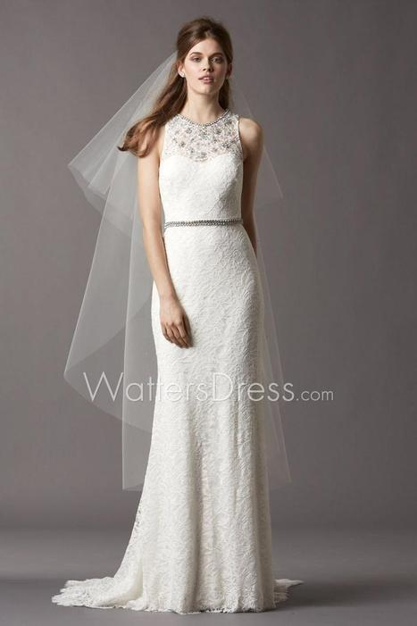 Beaded Lace Jewel Illusion Neck Slim Fit and Flare Designer Wedding Gown | wedding dresses collection | Scoop.it