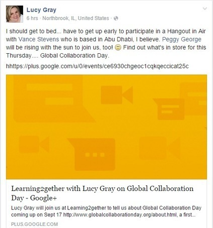 Learning2gether with Lucy Gray and Peggy George about Global Collaboration Day | Learning2gether | Scoop.it