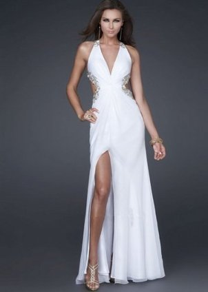 White V Neck Cutout Dress with Gold Embellished Leaf [White V Neck Cutout dress] - $162.00 : Prom Dresses 2014, Cheap Prom Dresses, Prom Gowns | Prom dress | Scoop.it