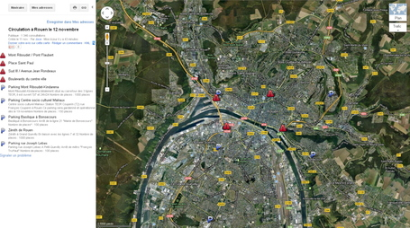 Circulation à Rouen le 12 novembre | #map Google via Joce | Rouen | Scoop.it