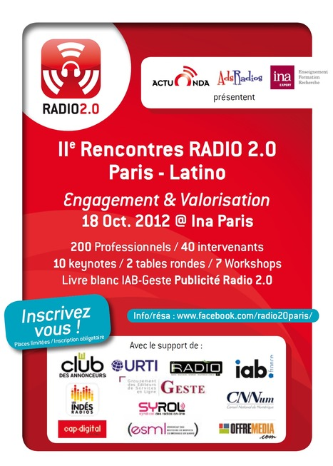 Belle affiche pour les II rencontres Radio 2.0 Paris-Latino @ Ina Paris le 18 Oct | MUSIC:ENTER | Scoop.it