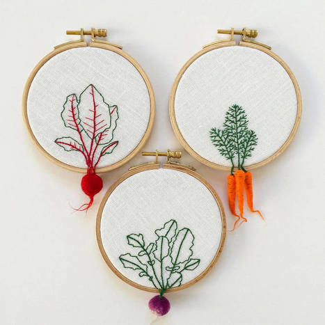Felted Veggies Hung on Embroidery Hoops | Textile Horizons | Scoop.it