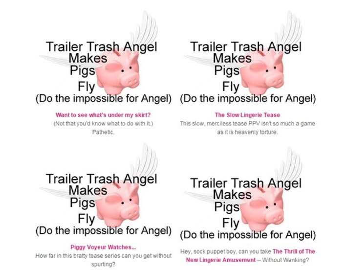Trailer Trash Angel may not be your angel, but she can make you pigs fly! | Phone Sex | Scoop.it