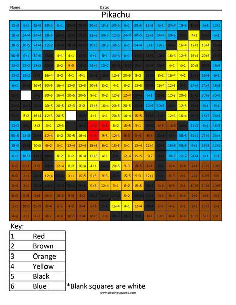 Pokemon Math Coloring Pages | Coloring Squared | Scoop.it