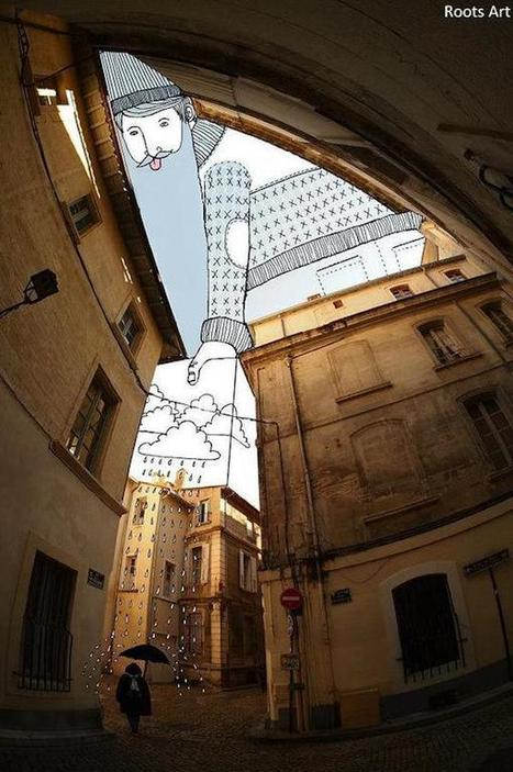 Artist Doodles In The Spaces Between Buildings With Quirky And Funny Results. | doodling | Scoop.it