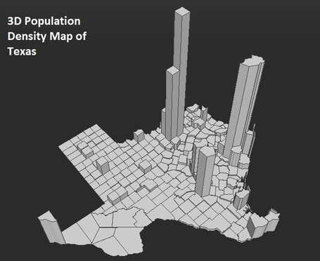 3D Population Density Map of Texas | StylingM@p | Scoop.it