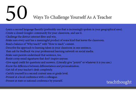 50 Ways To Challenge Yourself As A Teacher | School Libraries and more | Scoop.it