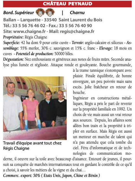 Vino Magazine - Octobre / Novembre 2011 : 2 bacchus pour Ch Peynaud Bordeaux Superieur 2009 | Nombrilisme | Scoop.it