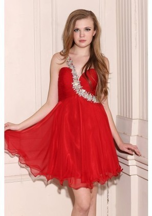 A Line One Shoulder Short Red Chiffon Homecoming Dress Adoaa0044 - Homecoming Dresses - Special Occasion Dresses | mode | Scoop.it