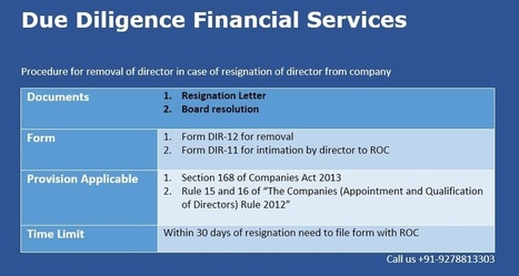 Procedure for removal of director in case of resignation of director from company | Due Diligence Financial Services | Company Registration in Delhi | Scoop.it