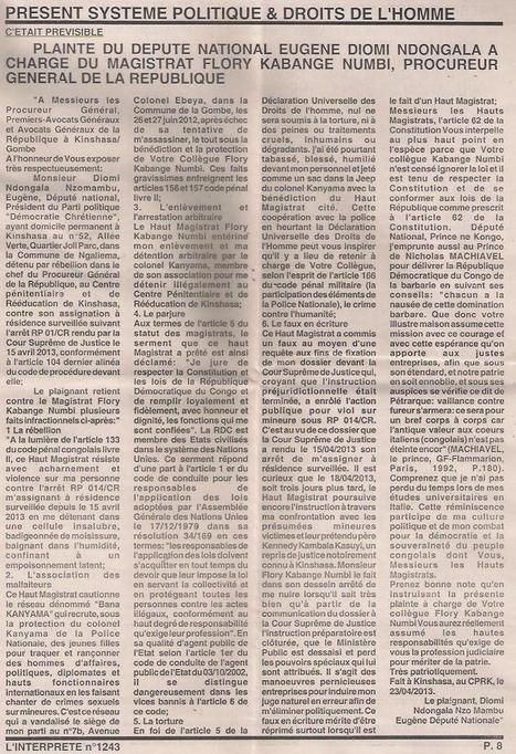JOURNAL INTERPRETE: PLAINTE DE DIOMI NDONGALA CONTRE LE PGR FLORY KABANGE NUMBI / 29/04/2013   FREE EUGENE DIOMI NDONGALA   Scoop.it