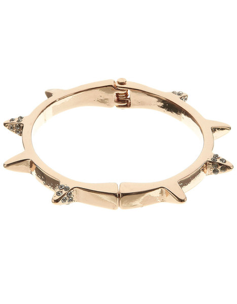 Crystal Pyramid Spike Clamp Bangle | Gold | Accessorize | fashion | Scoop.it