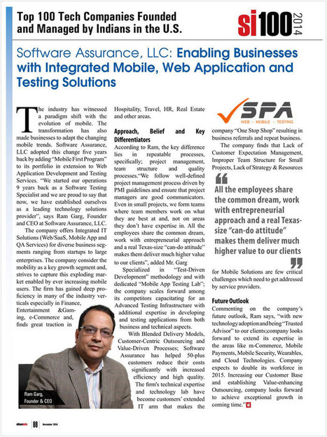 Software Assurance, LLC Featured in SiliconIndia Top 100 Tech Companies founded by Indians in USA | Mobile App Development & Testing Company | Scoop.it