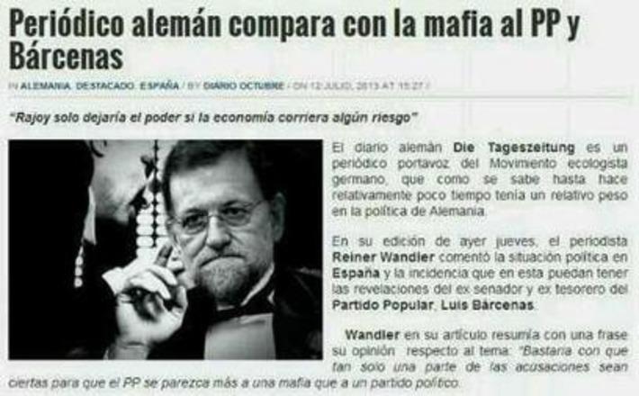 Periódico alemán compara con la mafia al PP. Tweet from @txerokired   Partido Popular, una visión crítica   Scoop.it