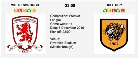 Middlesbrough vs. Hull City: Match preview - 05/12/2016 EPL | Free betting tips on football,tennis,hockey & more | Scoop.it