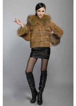 Women's Furs :: Fur Jackets :: Rabbit :: Horizontal Rabbit Fur Jacket with Raccoon Fur Trim Hood & Cuffs - | furs | Scoop.it