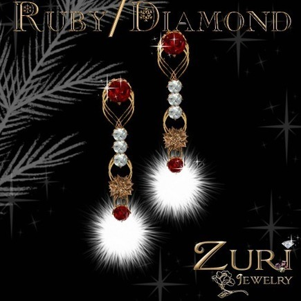 Zuri Rayna~ Holiday Cheer Earrings~ Ruby/Diamond Version Ruby – MP 1 Linden | Second Life Freebies and bargains | Scoop.it