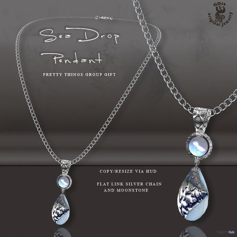 Sea Drop Pendant Pretty Things Mall Group Gift by GDit Jewelry | Teleport Hub - Second Life Freebies | Second Life Freebies | Scoop.it