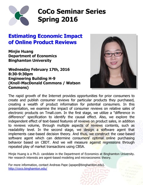 Next CoCo Seminar by Minjie Huang (Economics) on Feb. 17th, 2016 | Center for Collective Dynamics of Complex Systems (CoCo) | Scoop.it