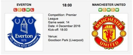 Everton vs. Manchester United: Match preview - 04/12/2016 EPL | Free betting tips on football,tennis,hockey & more | Scoop.it