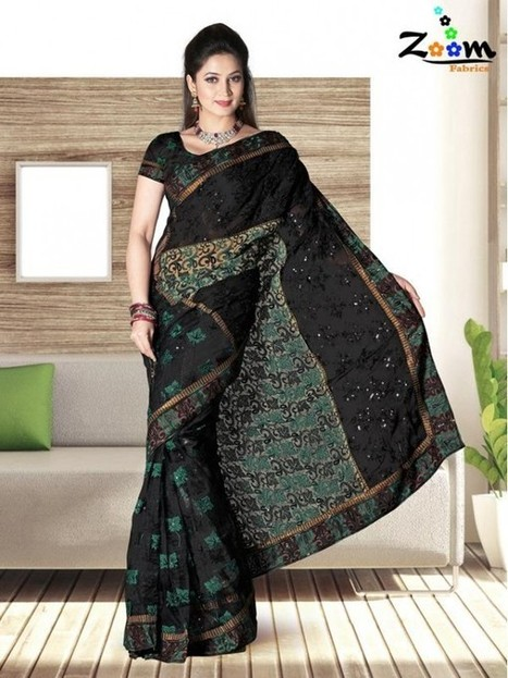 Zoom Black Embroidered Saree | things to like | Scoop.it