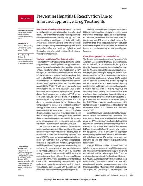 Preventing HBV Reactivation Due to Immunosuppressive Treatments | Hepatitis C New Drugs Review | Scoop.it
