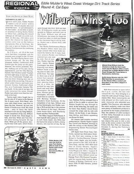 Wilburn Wins Two - Sacramento Mile 2002 Race Story.  This is a bit hard to read... | California Flat Track Association (CFTA) | Scoop.it