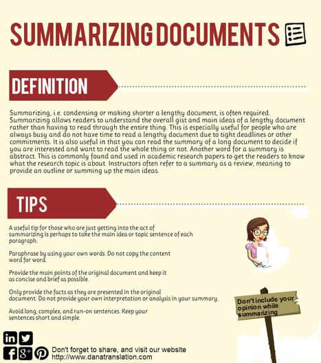 Summarizing Documents [INFOGRAPHIC] | Dana Translation | Scoop.it