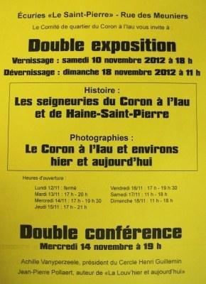 Expositions et conférences du 10 au 18 novembre sur le Coron à l'Iau àHaine-Saint-Pierre