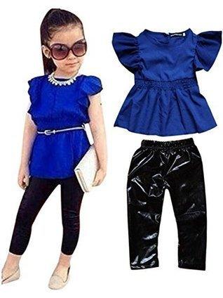 2PCS Baby Girl Short Sleeve T-shirt +Pants Set Clothes Kids Outfits Fit 2-8T 3T Blue | Wilson Jeriff Scoop | Scoop.it